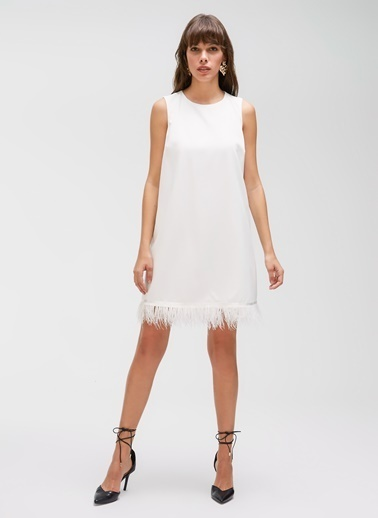People By Fabrika Tüy Detaylı Elbise Beyaz